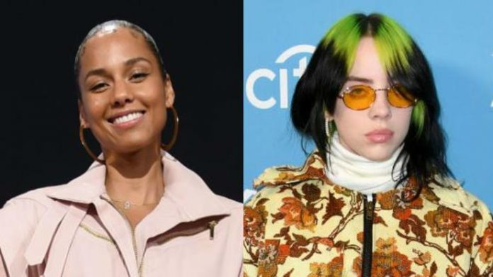 "Alicia Keys and Billie Eilish surprise the talk show audience with the duo ""Ocean Eyes"""