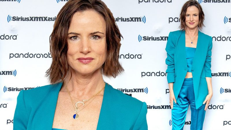 Juliette Lewis looks lovely in teal as she steps out to promote Season 2 of Facebook Watch's Sacred Lies